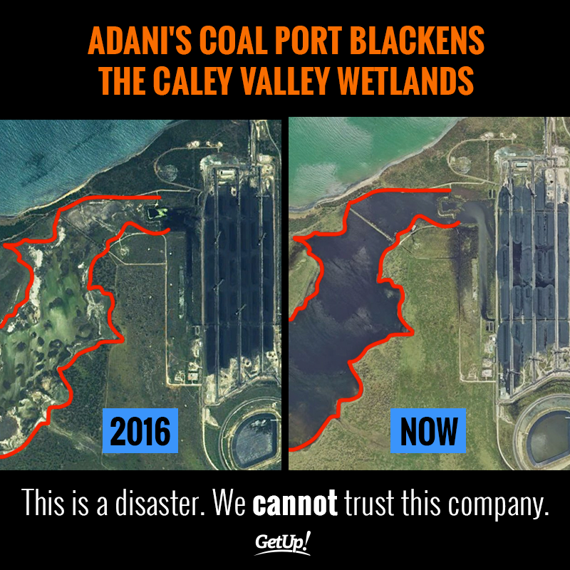 Satellite images contrast the pristine Caley Valley wetlands in 2016. To now, when Adani's coal has completely destroyed it.