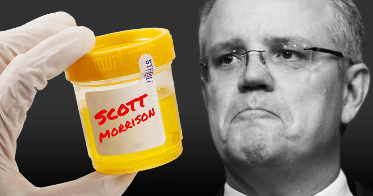 A gloved hand holds a jar of wee with Scott Morrison's name on it