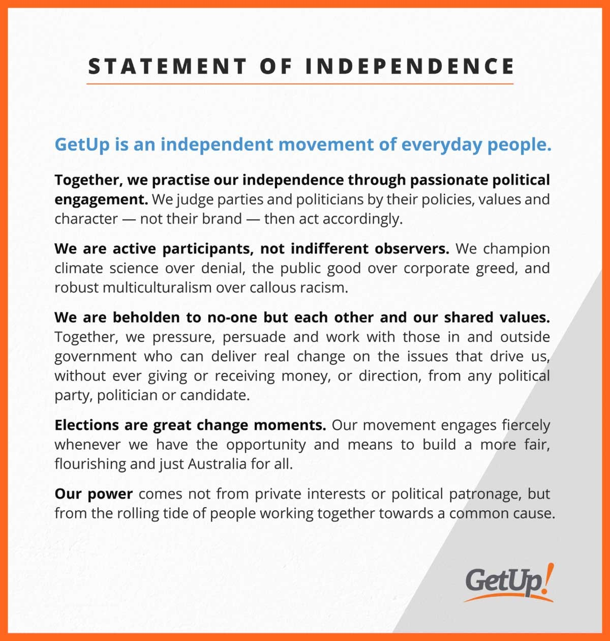 GetUp Statement of Independence
