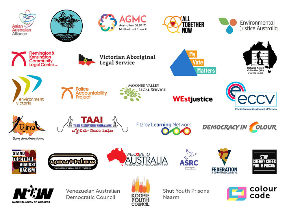 Logos of organisations who signed onto #NoRacisminPolitics statement