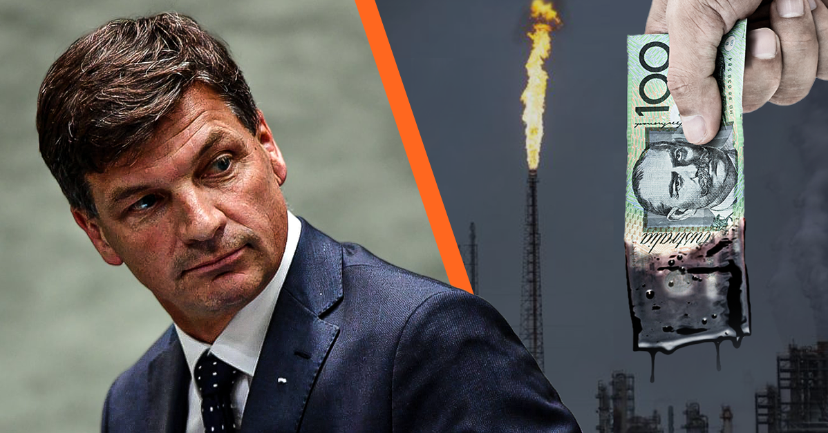 A split image with Angus Taylor looking over his shoulder on the left, on the right is a grey factory spewing smoke overlaid with a hand holding a $100 bill dripping with black oil