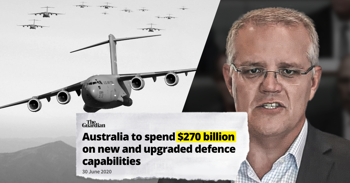 "Image of military equipment and Scott Morrision, and headline ""Australia to spend $270bn on new and upgraded defence capabilities"""