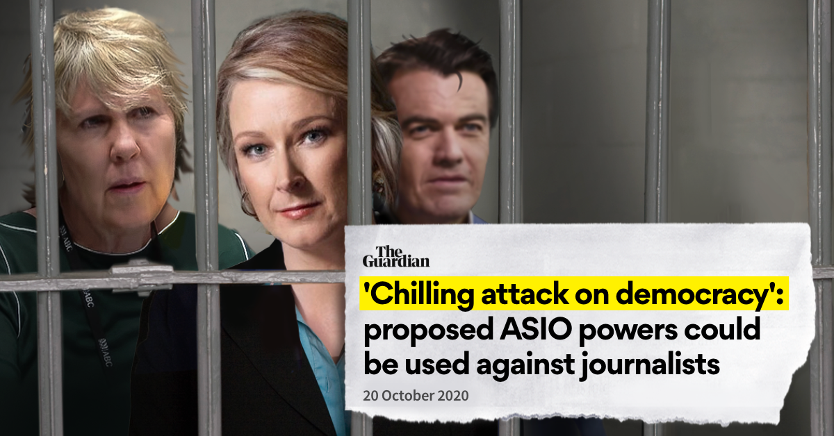 """ABC journalists behind bars with headline from the Guardian """"'Chilling attack on democracy': proposed Asio powers could be used against journalists"""""""