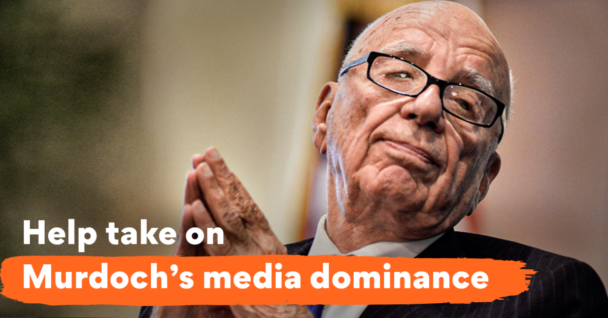 "Image of Rupert Murdoch with tag line ""Help take on Murdoch's media dominance"""