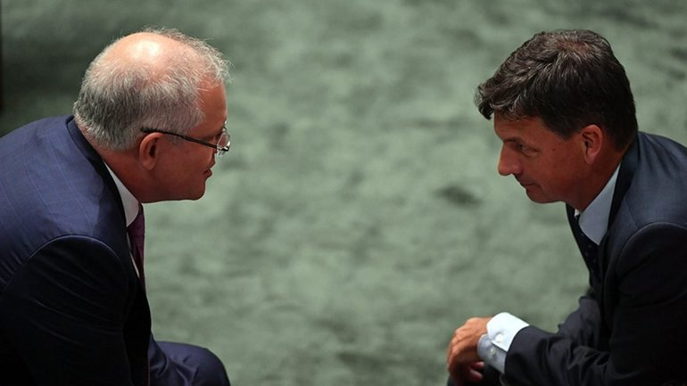 Angus Taylor and Scott Morrison in Parliament